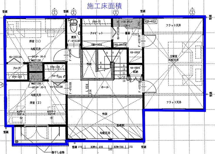 次に施工床面積です。色を変えて青で表示していますが、施工床面積の方が延べ床面積よりも大きくなっていることが分かると思います。